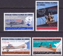 Série De 4 TP PA Neufs ** N° 247/250(Yvert) Comores 1987 - Aviation, L'avion Et La Poste - Comoren (1975-...)