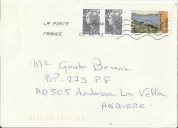 FRANCE 2013 - COVER MAILED TO ANDORRA W 3 TIMBRES  - 2 DE  0,10 + 1 PRIORITAIRE - CEZANNE GOLFE DE MARSEILLE - OBLITERÉE - France