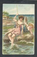 1909 USED PINUP OF TWO BATHING SUIT GIRLS FISHING - Pin-Ups