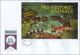 Grenada 2003  Sheet/4 Dinosaurs Prehistoric #3386 First Day Cover - Grenada (1974-...)