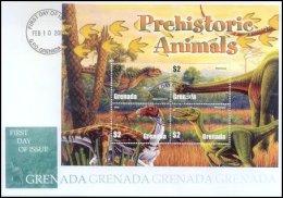 Grenada 2005 Sheet/4 Dinosaurs Prehistoric #3495 Majungatholus First Day Cover - Grenada (1974-...)