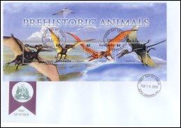 Grenada 2005 Sheet/4 Dinosaurs Prehistoric #3497 Pteranodon First Day Cover - Grenada (1974-...)