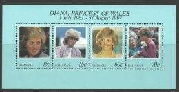 1997 Special Mini Sheet Diana Princess Of Wales 1961-1997  Complete MUH Full Gum On Rear - Bahamas (1973-...)