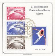 Vignetten, Werbemarken DR 423-424, 455 Zeppelin Repro Zur 2. Int. Briefmarken-Messe Essen 1978, Gestempelt - Erinnofilia