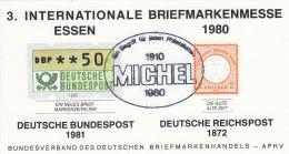 Vignetten, Werbemarken DR 8 Brustschild, BRD ATM  Repro Zur 3. Int. Briefmarken-Messe Essen 1980, Gestempelt - Erinnofilia