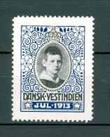 DWI. Danish West Indies. 1913. Christmas Seal. MH. Crown Prince Frederik. - Denmark (West Indies)