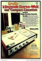 Reklame Werbeanzeige 1973 ,  Philips Casetten-Recorder N 2400 - Große Klingende Stereo-Welt - Wissenschaft & Technik