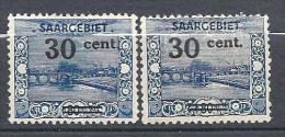 SARRE YVERT N� 75 / MAURY N� 75b VARIETE SURCHARGE 3 TRONQUE NEUF* TTB