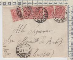 Storia Postale Busta Con Lettera 5x10 Centesimi Da Vittorito L'aquila Per Tussio  14/7/1923 - 1900-44 Victor Emmanuel III