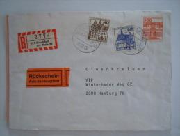 Duitsland Allemagne Brief Lettre 1986 Einschreiben Frankfurt Am Main Série Courante Châteaux 764 835 971 - [7] West-Duitsland