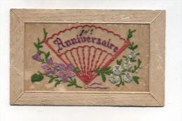 CPA  Fantaisie : CARTE Brodée   Anniversaire  1917         VOIR  DESCRIPTIF   §§§ - Brodées