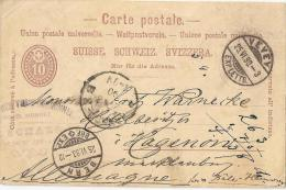 PK 20  Vevey - Hagenow D         1890 - Ganzsachen