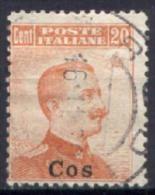 Egeo Coo 1912 20c. Senza Filigrana / No Wmk Sass.9 Usato/Used VF/F - Egée (Coo)