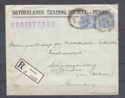 Britische Kolonie - Malaysia Straits Settlements - R - Brief  2.4.1924/Penang Nach Schwarzenberg (Germany) / Siehe Fotos - Straits Settlements