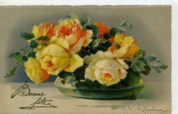 KLEIN - JOLI BOUQUET DE ROSES JAUNES Dans Un Vase - Klein, Catharina