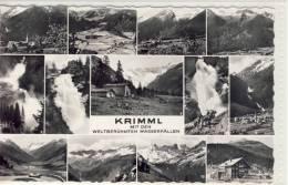 KRIMML Mit Den Weltberühmten Wasserfällen  S/w Mehrbildkarte - Krimml