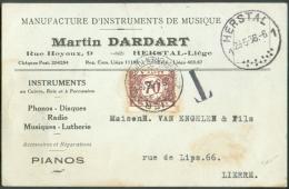 C.P Non Affranchie (publicité MUSIQUE Martin Dardart Phono, Disque, Radio)  Obl. Sc HERSTAL 23-5-1936 Vers Lierre Et Tax - Postage Due