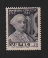 Cimarosa - 1949 - 20 Lire Nero Violetto (Sassone 615) MNH** - 1946-60: Nuovi