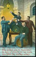 Motiv Bierfass Beer Bierkurg Gesellige Runde Männer Feiern Um 1910 - Humor