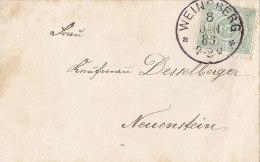 Württ. 44 A EF Auf Brief Mit Stempel: Weinsberg 8.JAN 1885 Nach Neuenstein, Geprüft - Wuerttemberg