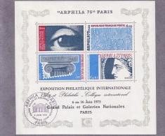 ARPHILA 75 - PARIS - UN BLOC OBLITERE SUR FEUILLET DU GRAND PALAIS CACHET ARPHILA DU 6-6-1975 + UN NEUF. - Blokken En Velletjes