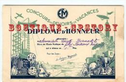 ECOLE < RARE Diplome Honneur Concours Devoirs Vacances à Bordeaux Edition Magnard - Projecteur Cinema + Mappemonde Etc.. - Diplômes & Bulletins Scolaires