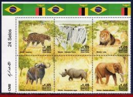 Ref. BR-V2010-42 BRAZIL 2010 - JOINT ISSUES - ANIMALS & FAUNA ZAMBIA NATURE WATERFALLS - SET MINT MNH 6V