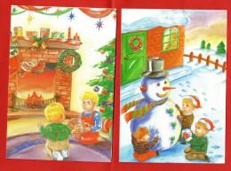 717- 2 Cartes Postales Fantaisie Sur Le Thème Noël - Bonhomme Neige, Cheminée, Enfants - - Natale