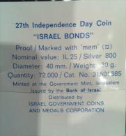 ISRAEL 25 IL  1975 - 27th ANNIV BONDS SILVER COIN PR ORIGINAL CASE FONDO SPECCHIO - Israele