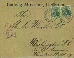 """1910: Brief Mit Sondertarif """"Amerika Direkt"""" Ab HEILBRONN, Umschlag Falte - 37357 - Germania"""