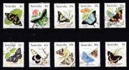 Australia 1983 Butterflies Set Of 10 Used - - 1980-89 Elizabeth II