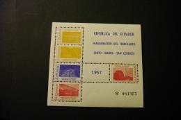 Ecuador 618 Various Railway Scenes Souvenir Sheet Block Hinged 1957 A04s - Ecuador