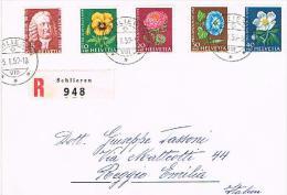 LETTRE OBLITERES  LA SERIE PRO JUVENTUTE 1958 C/DES TIMBRES SUISSES Nr:J173/J177. - Lettres & Documents
