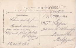REGIMENT TERRITORIAL 113ème - Dépôt - Cachet Linéaire - CP Toulon 12 Août 1914 - Poststempel (Briefe)