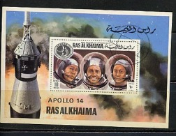 Space Apollo 14 Ras Al Khaima Used Souvenir Sheet