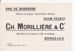 CARTE DE VISITE ANCIENNE ETS CH MORILLIERE ET CIE BORDEAUX VINS DE BORDEAUX RHUMS D'ORIGINE IMPORTATION DIRECTE RHUM REG - Visiting Cards