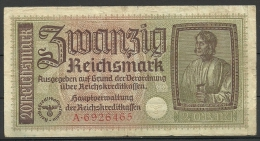 Deutschland Occupation Bank Note 20 Reichsmark Serie A - Besatzungsgebiete In Deutschland