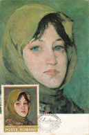 IOAN ANDREESCU- PEASANT GIRL WITH GREEN SHAWL, PAINTING, CM, MAXICARD, CARTES MAXIMUM, OBLIT FDC, 1975, ROMANIA - Art