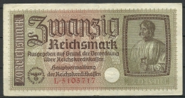 Deutschland Occupation Bank Note 20 Reichsmark Serie L - [ 9] Territoires Allemands Occupés