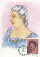 ELENA VACARESCU, WRITER, CM, MAXICARD, CARTES MAXIMUM, OBLIT FDC, 1995, ROMANIA - Ecrivains