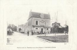 94 CHENNEVIERES Belle CPA Embossée Terrasse Animée  CAFE Restaurant  Au Rendez Vous De CHASSE - Chennevieres Sur Marne