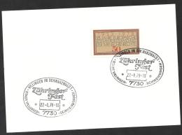 Deutschland BRD Sonderstempel 1978 Zähringer-Fest 27.8.78 Villingen Schwenningen Auf Mi 979 - BRD