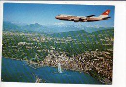 Aviation - Boeing 747 De La Swissiar Au Dessus De La Ville De Genéve / édition Pierre Aeger N° 5650 - 1946-....: Moderne