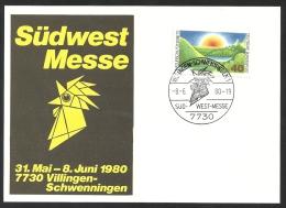 Deutschland BRD Sonderstempel Sonderkarte SS 1980 Südwest Messe Südwestmesse 8.6.80 7730 Villingen-Schwenningen Mi 1052 - Marcophilie - EMA (Empreintes Machines)