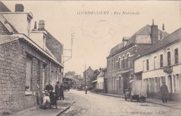 A2A Z29c CPA 59 NORD GONDECOURT RUE NATIONALE TOP RARE VISUEL ANIMEE 1935 VEHICULE CAMION ?? VOITURE ?? COMMERCE ??? - Francia