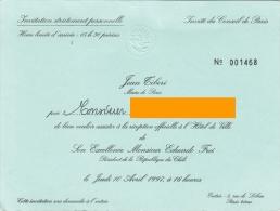 VIEUX PAPIERS  INVITATION MAIRE PARIS TIBERI 997 VISITE EDUARDO FREI PRESIDENT REPUBLIQUE CHILI - Mitteilung