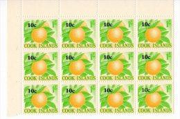 COOK ISLANDS 1967 10c ON 1s UMM BLOCK - Cookeilanden
