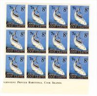 COOK ISLANDS 1967 7c ON 8d UMM BLOCK - Cookeilanden