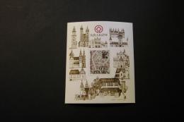 Poland 2549 Krakow City Map Hinged Souvenir Sheet Block 1982 A04s - Blocks & Sheetlets & Panes