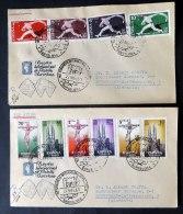 Philatelisten-Kongress 1960, 10 Werte Auf 2 Bedarfs-Ersttagsbriefen - 1951-60 Briefe U. Dokumente